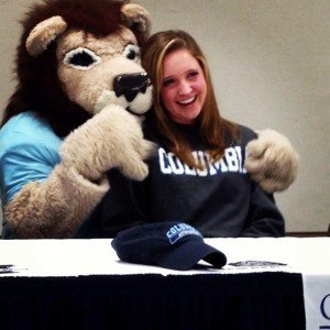 Columbia mascot Roar-ee made an appearance at Hughes' official signing ceremony. Photo credit: Katie Meili