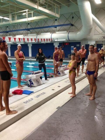 2013 Fantasy Camp, ondeck at the Olympic Training Center Pool (courtesy of the USA Swimming Foundation)