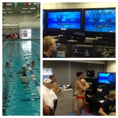 Fantasy Camp video analysis with Olympic Champion Ricky Berens (courtesy of the USA Swimming Foundation)