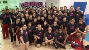 Cornell Swim & Dive raising money for breast cancer research (courtesy Cornell Athletics, November 2013)