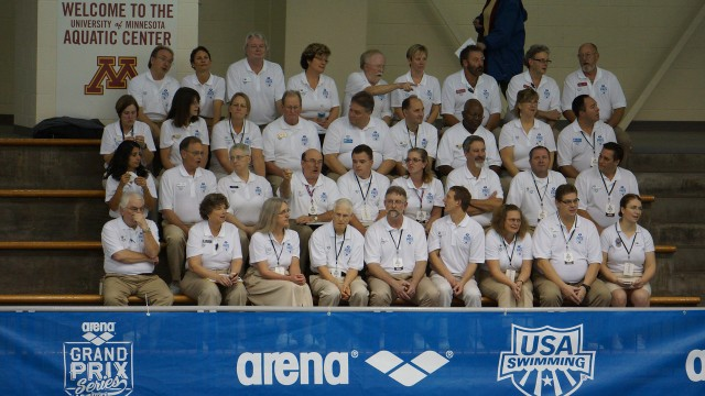 USA Swimming Officials. If you don't love these volunteers, you don't understand how swimming works. 2013 Arena Grand Prix at  Minnesota (courtesy of TakeItLive)