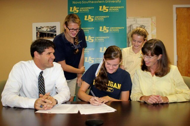 Emily Kopas signs his National Letter of Intent to swim for Michigan beginning in the fall of 2014.