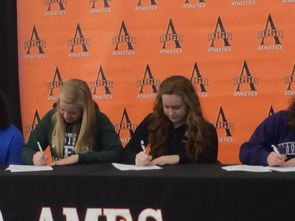 (NLI Photos) Two Ames Cyclone Aquatics Club Swimmers Sign National Letters of Intent