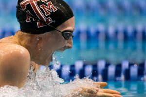 A&M's Breeja Larson Takes Top Seed in Women's 100 Breast; Sits Three-Tenths from Record