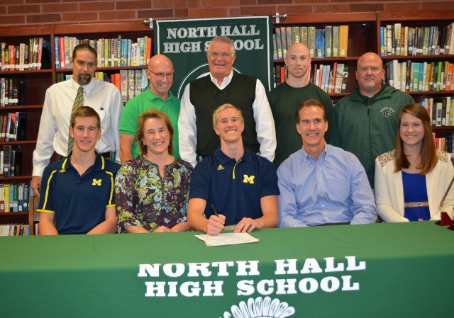 Paul Powers signs his National Letter of Intent to swim for the Michigan Wolverines.