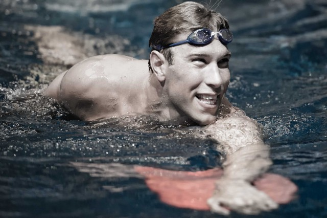 Matt Grevers in the warm down pool at the 2013 USA Swimming nationals  (photo: Mike Lewis, Ola Vista Photography)