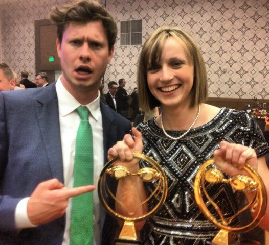 Anders Holm, writer, producer and star of Comedy Central's Workaholics with Katie Ledecky, 2013 Female Athlete of the Year