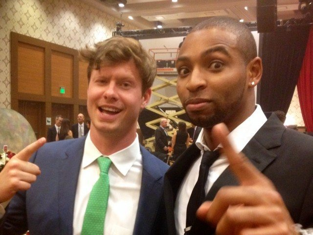 Anders Holm and Cullen Jones at the 2013 Golden Goggles