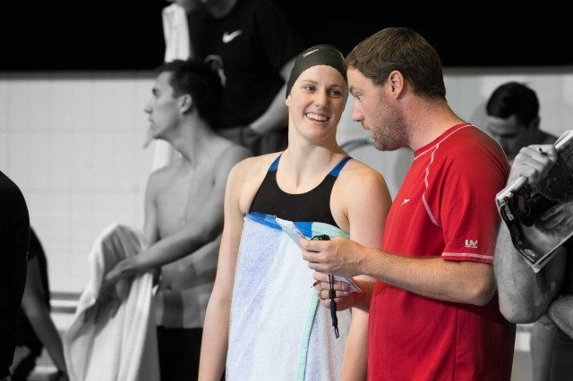 Coach Todd Schmitz and Missy Franklin calm and confident leading into the 100 back at nationals  (photo: Mike Lewis, Ola Vista Photography)