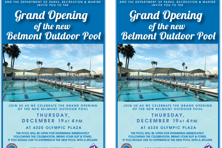 Belmont Temporary Pool Grand Opening Set for December 19th