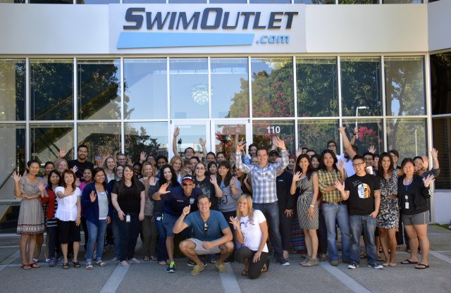 """Swim Like a Champion"" hosts at SwimOutlet's HQ -  behind the scenes  (courtesy of Fitter and Faster Tour presented by Swimoutlet.com)"