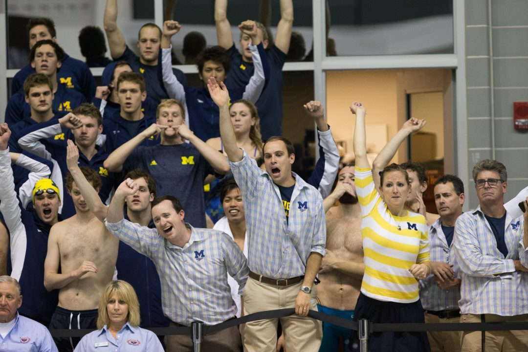 2014 Men's Big Ten Championships: NCAA record for Michigan, 1:30.6 split for Wynalda on night 1