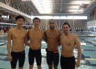 L-R: Eric Miou, Anthony Ervin, Brett Fraser and Doug Lennox smile for the camera after 50 yards of freestyle for charity!