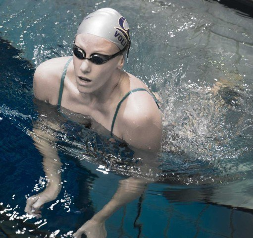 Dana Vollmer warming down in Indy  (photo: Mike Lewis, Ola Vista Photography)