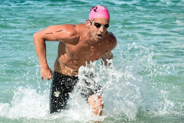 still in the top pack...Alex Kostich at the 2013 Waikiki Roughwater Swim  (photo: Mike Lewis, Ola Vista Photography)