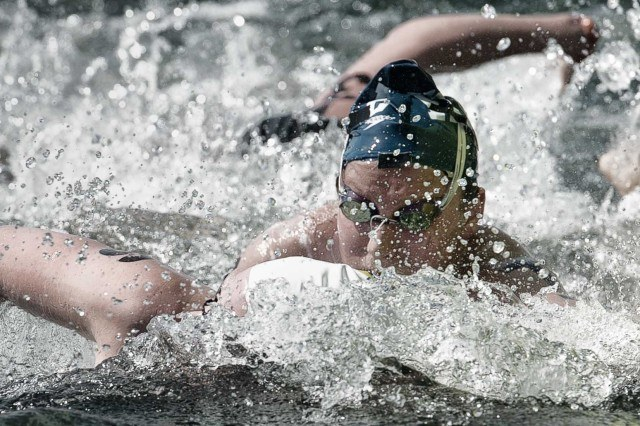 Eva Fabian charged hard at the 2013 USA Swimming open water nationals and made the world team in the 25K  (photo: Mike Lewis, Ola Vista Photography)