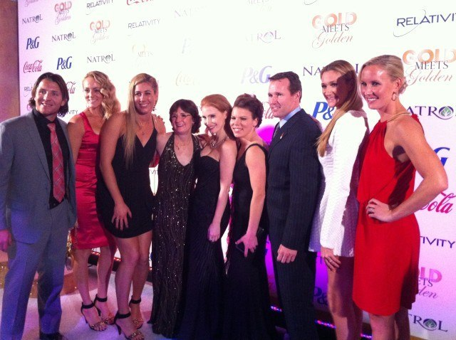 Tony Azevedo, Jen Kessy and April Ross (Silver medalists, Beach Volleyball), Bonnie Blair (Olympic icon,  Speedskating), Jessica Chastain (star of Zero Dark Thirty), Caitlin, Dan Janssen (Olympic Champion, Speedskating), Kerri Walsh (3x Olympic Champion, Beach Volleyball) and Jessica Hardy (Olympic Champion, Swimming). (Images courtey of Brant Feldman, agm.us)