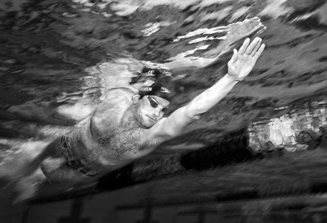No time out.  Houchin hit the pool as soon as he landed in San Diego (photo: Mike Lewis, Ola Vista Photography)