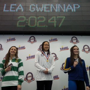 Freshman Lea Gwennap of ? won the 200 IM.