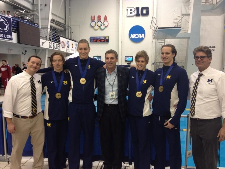 Michigan Men Break NCAA Record in 800 Free Relay on Wednesday at Big Ten Championships