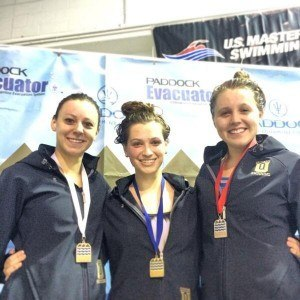 The all-Queens podium in the 1650 at Bluegrass Mountain Conference championship. Courtesy of Queens Athletics.