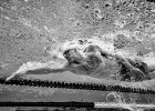 A view of Lewis Coleman as he completes the WOrld Record setting effort in the 100 x 100 SCM freestyle relay.