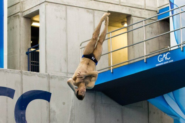 Nick McCrory of Duke dives in the 3 Meter competition, 2014 ACC Championships (courtesy of Tim Binning/theswimpictures)