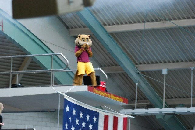 Goldy the Gopher took a cannonball off of the 10-meter after the meet opening pyrotechnics show on night 1 of the 2014 NCAA Championships. (Photo Courtesy: Janna Schulze)