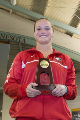 Ryan Laura, 1-meter NCAA Champion, a great way to end her college career back home Minn (Tim Binning, theswimpictures)