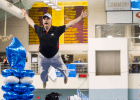 Leave it to the University of Georgia Diving Coach Dan Laak to do a graceful victory celebration dive at the 2014 Women's NCAA DI Swimming & Diving Championships (courtesy of Tim Binning, the swim pictures)