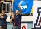"Arizona Coach Rick Demont (aka ""Rocket"") sends the WildCat cheer after Tjasa Oder posts a 15:56.38 in the next to last heet of the 1650 at the 2014 Women's NCAA DI Swimming & Diving Championships (courtesy of Tim Binning, the swim pictures)"