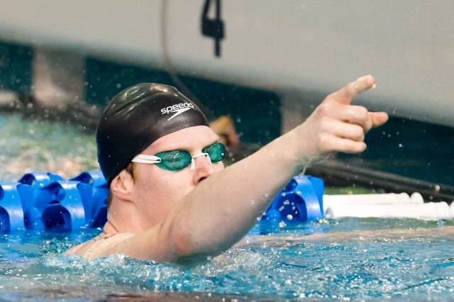 Indiana Senior James Wells wins the 100 backstroke 'B' final in 45.90 at the 2014 NCAA Division I Swimming and Diving Championships. (courtesy of Tim Binning, theswimpictues)