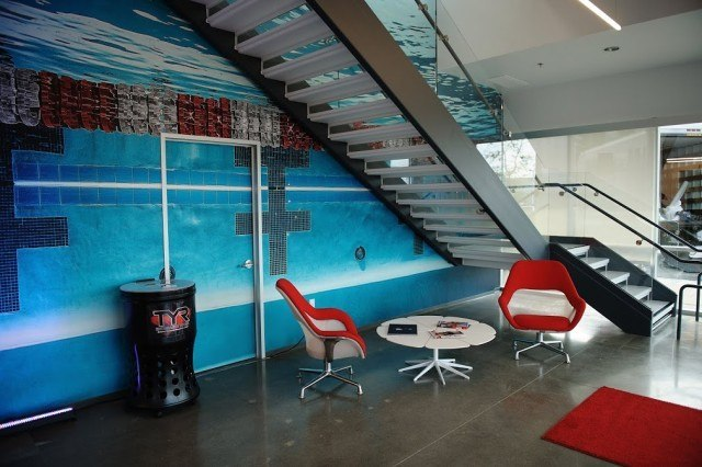 Pool themed walls = A swimmer's paradise!. TYR Sport Global Headquarters, Huntington Beach, CA (courtesy of TYR Sport)