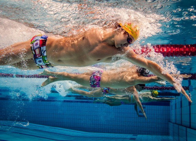 Australian National swimmers showing off in the latest prints from Funky Trunks.