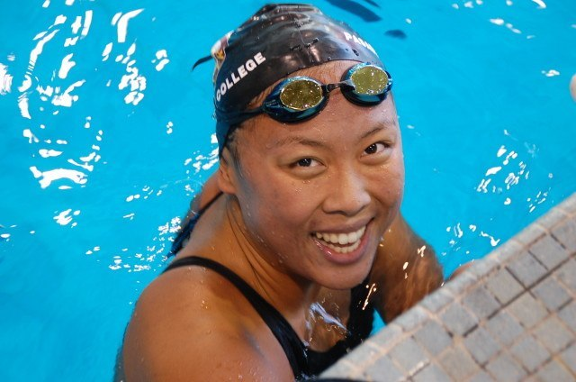 Shannon Cheung, Pasadena City College's first female CCCAA state titlist. She won both the 200 IM and the 1650 free at the 2014 state championship meet. Photo: Anne Lepesant
