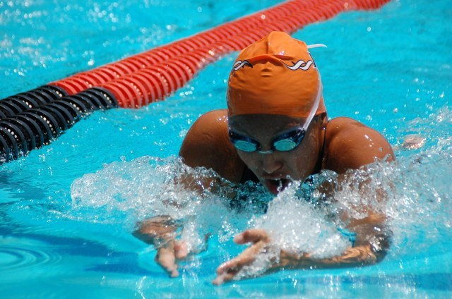 Amy Okada of Beverly Hills in the 100 breast. Photo: Anne Lepesant