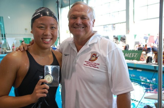Double state champion Shannon Cheung of PCC with Coach Terry Stoddard. Photo: Anne Lepesant