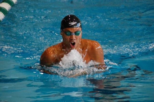 Jia Ng of Santa Monica broke both breaststroke records at 2014 CCCAA championships. Photo: Anne Lepesant