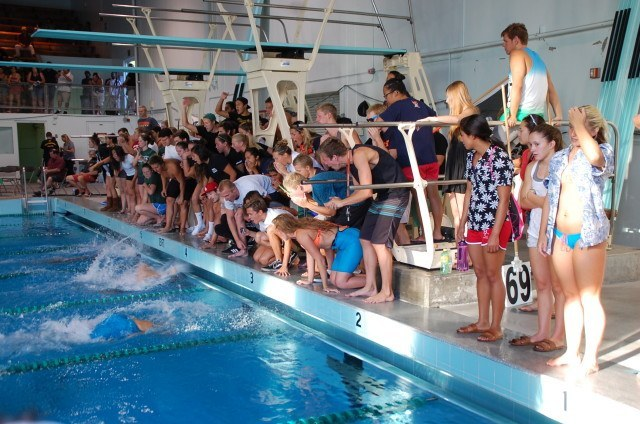 Cheering on the women's 400 free relay at 2014 CCCAA championship meet. Photo: Anne Lepesant