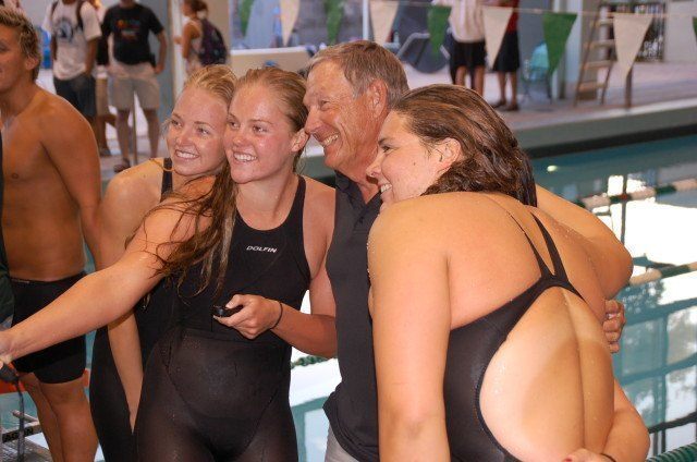 Golden West selfie - women's 400 free relay and Coach Schubert. Photo: Anne Lepesant