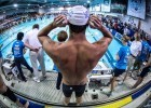 almost time.  Michael Phelps before the start of the 200 free prelims (photo: Mike Lewis, Ola Vista Photography)
