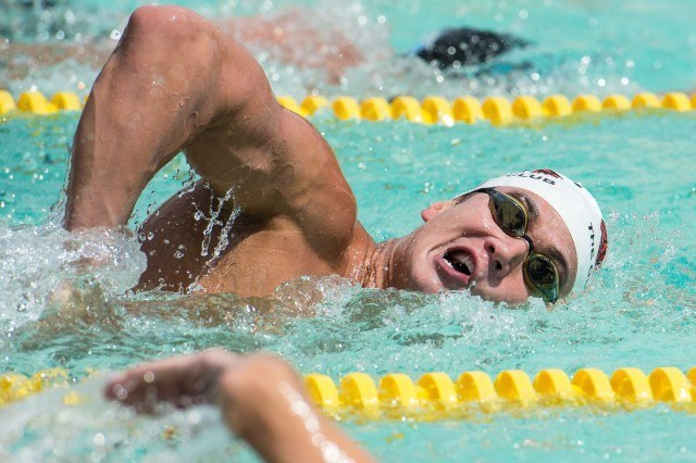 Nathan Adrian cooling down after ripping the 100 (Photo: Mike Lewis - Courtesy of U.S. Masters Swimming)