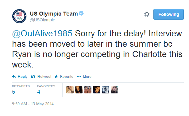 Ryan Lochte Out of Charlotte USOC Tweet