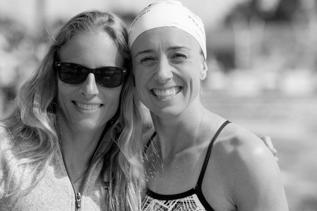 Breaststroke standouts Cynthia Lewis and Trina Schaetz celebrated national title swims (Photo: Mike Lewis - Courtesy of U.S. Masters Swimming)