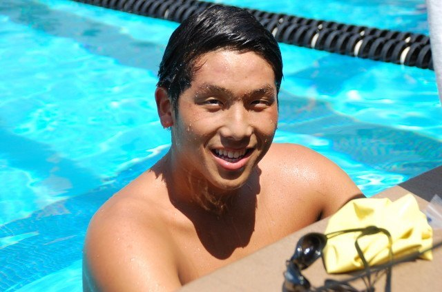 Ryan Kao after winning the 500 free. Photo: Anne Lepesant