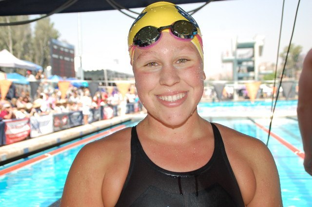 Sonora freshman Taylor Ault won the 200 and 500 free. Photo: Anne Lepesant