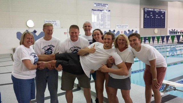 Columbus, IN Fitter and Faster Swim Tour presented by SwimOutlet.com  Adam Brown & Claire Donahue with  volunteers.