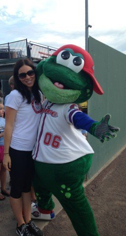 Kate Ziegler and Greenville Drive Mascot - Swimmers night at the baseball game - Fitter and Faster Swim Tour Greenville, SC Clinic