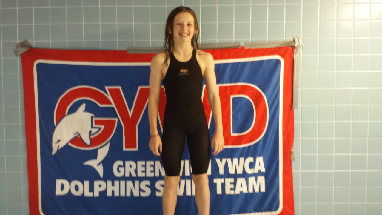 Meghan Lynch with 10 & Under 100 breaststroke NAG at CAC Qualifier meet