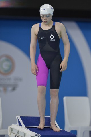13-year-old Erraid Davies, Scotland's youngest Games competitor in any sport and a bronze medalist in the Parasport 100 breast. Courtesy of Scottish Swimming.